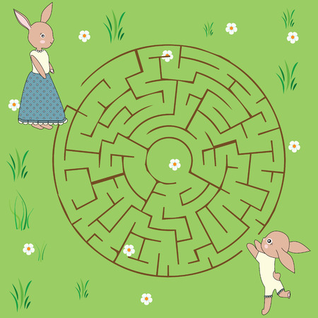baby and mother: Maze game: mother rabbit and her baby