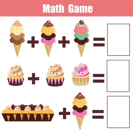 addition: Math educational game for children. Learning addition Illustration