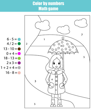 school years: Coloring page with girl. Color by numbers math children educational game. For school years kids Illustration