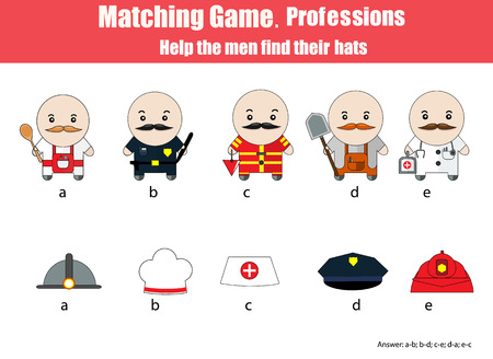 developmental: Match men with hats hildren education game. Learning professions theme for kids books, worksheets with answer