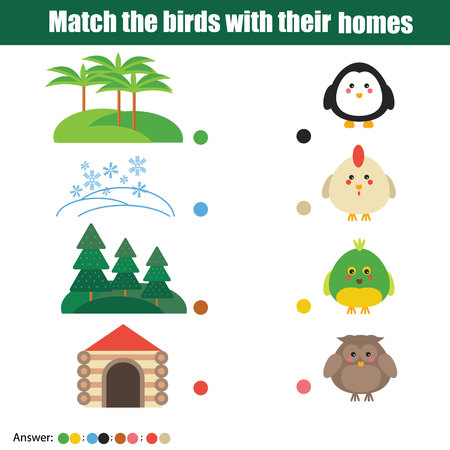 developmental: Match the birds with homes children education game. Learning nature, animals, birds theme for kids books, worksheets with answer