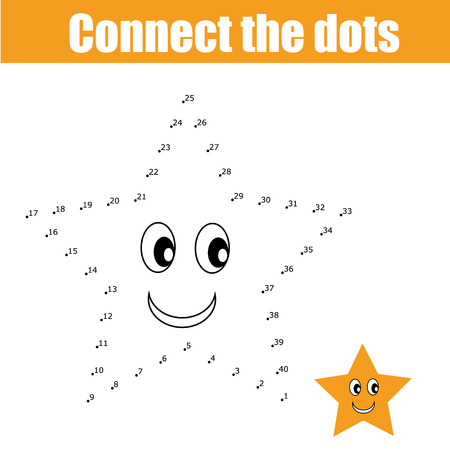 Connect the dots educational drawing children game. Dot to dot  game for kids. Preschool age Иллюстрация