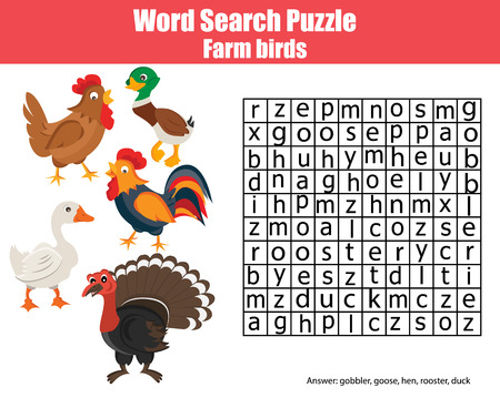 developmental: Word search puzzle. Find words children game. Farm birds, learning nature and english vocabulary Illustration