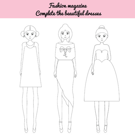 editor: Coloring page for kids. Be a fashion editor game. Color the fashion models, fashion magazine sheet. Fancy dolls in stylish outfit. Illustration