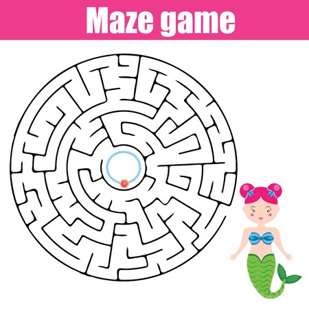 developmental: Maze children game: help the mermaid go through the labyrinth and find her treasure