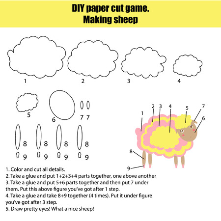 instruction sheet: DIY children educational game. Do it yourself handmade creative  tutorial for kids. Make a sheep. Sheet with instruction and details