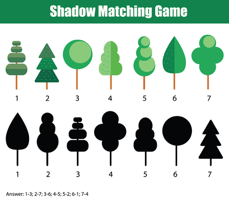 developmental: Shadow matching game for kids. Find the right shadow task. Children educational game with answer