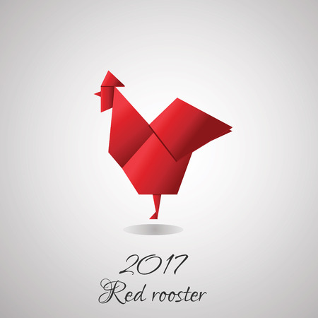 Red rooster in origami style icon. Vector illustration of 2017 new year symbol