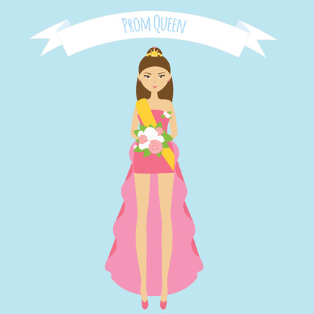 prom night: Prom queen flat illustration. Girl in fashion pink dress with roses and golden crown Illustration