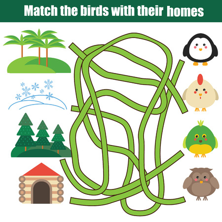 Matching game. Match the birds with homes children educational game with maze. Learning nature, animals, birds theme for kids books, worksheets Illustration