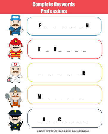 vocabulary: Complete the words children educational game. Learning professions theme and vocabulary Illustration