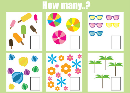 Counting educational children game. How many objects task. Learning mathematics, numbers, addition theme