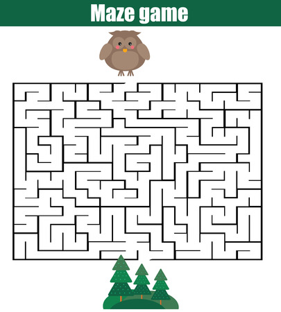 developmental: Maze children game: help the owl go through the labyrinth and find forest
