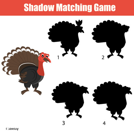 developmental: Shadow matching game for kids. Find the right shadow task Illustration