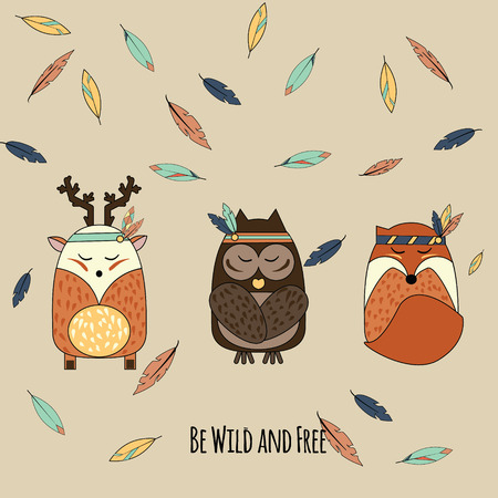Boho animals in hand drawn style. Tribal owl, deer and fox with falling feathers inspirational vector illustration Vettoriali