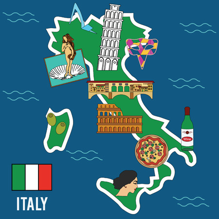 famous places: Italy travel. Famous places and symbols of Italy. Welcome to Italy vector illustration