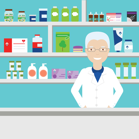 condoms: Pharmacist in pharmacy vector illustration. Aged male pharmacist in glasses on background of shelves with medical objects, pills, etc. Pharmacist in medical store Illustration