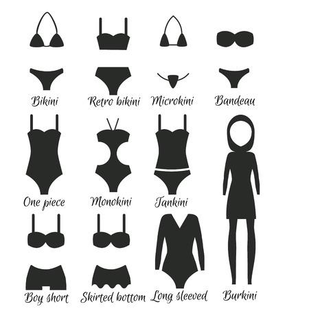 bikini top: Swimsuits models. Popular swimwear types for women Illustration