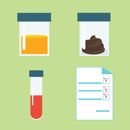 Set of popular medical tests: blood, urine, feces in container. Medical analysis vector illustration in flat style