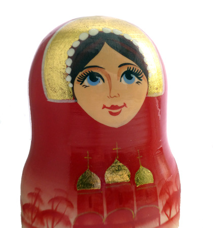 russian nested dolls: Matryoshka doll portrait photo. Russian traditional nesting doll