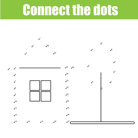 Connect the dots educational drawing children game. Dot to dot game for kids. Stock Illustratie
