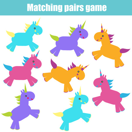 pairs: Matching pairs game for kids. Find the right pair for each unicorn