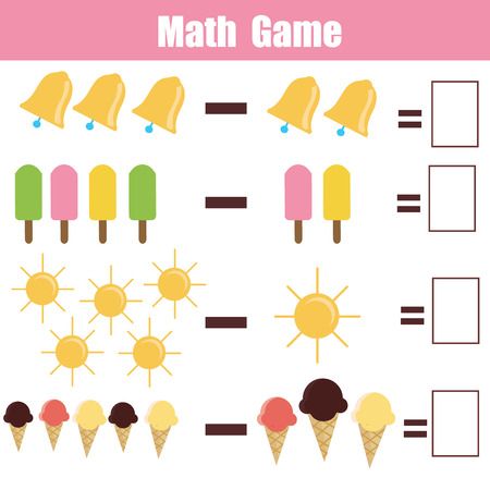 Mathematics educational game for children. Learning substraction task for kids