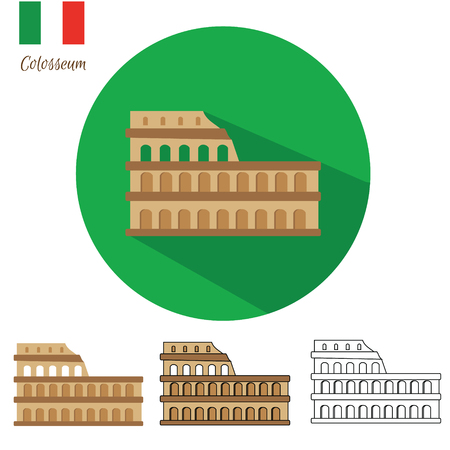 colosseo: Colosseum icon set. Coliseum icon in different styles flat with long shadow, drawn, outline, isolated. Vector illustration Illustration