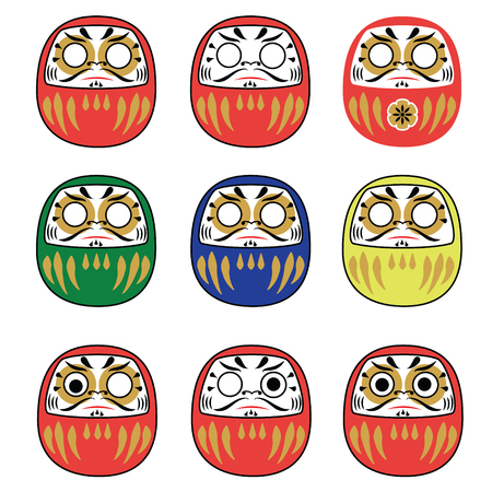 zenlike: Set of japanese new year daruma dolls. Traditional daruma dolls in different colors collection. Vector illustration