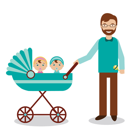 nursing sister: Happy father with newborn children in babystroller. Young smiling man with babies twins. Happy family theme vector illustration
