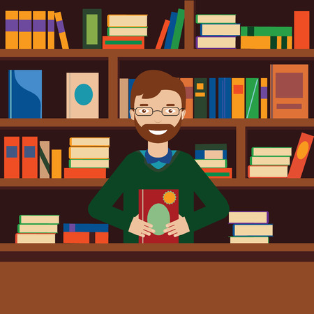 librarian: Young man on background with books shelves. Librarian or bookstore seller vector illustration