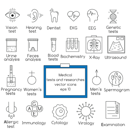 researches: Popular medical tests and clinical researches vector outline icons set. Design elements for web pages, brochures, flyers and etc