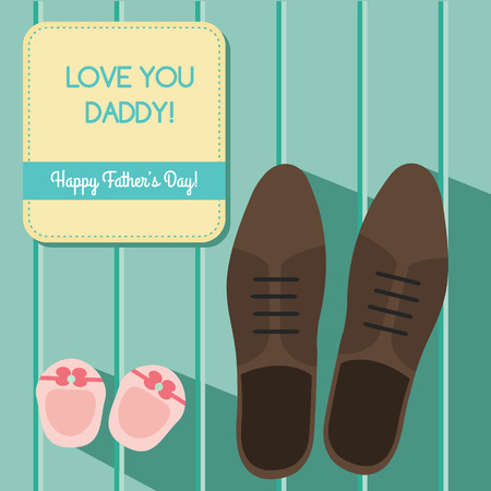 baby s: Happy fathers day greeting card design set with man s shoes and baby booties, vector illustration Illustration
