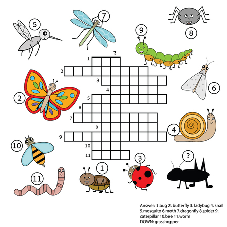 Crossword educational children game with answer. Learning vocabulary, animals and insects theme. vector illustration, printable worksheet Vectores