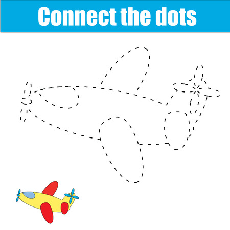 Connect the dots children educational drawing game . Dot to dot game for kids. Transport theme for pre school age