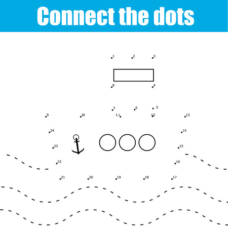 school age: Connect the dots children educational drawing game . Dot to dot by numbers game for kids. Transport theme for pre school age Illustration