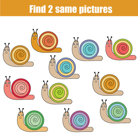 Find the same pictures children educational game. Find equal snails task for kids
