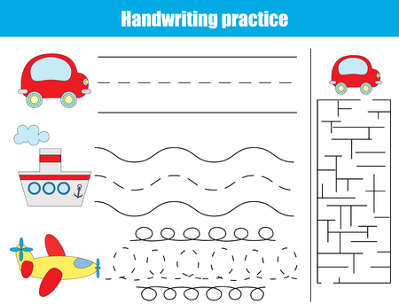 activity cartoon: Handwriting practice sheet. Educational children game. Writitng training, transportation theme. Connect the dots and solve the maze task. vector illustration, printable worksheet