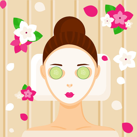 beuty: Young woman with facial mask relaxing in spa, beauty or massage salon among flowers. Vector illustration Illustration