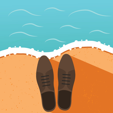 office shoes: Man office shoes on the sand, beach, seashore. Summer holidays, vacation concept vector illustration, design template in flat style