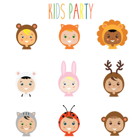 party outfit: Kids party outfit. Cute smiling happy children in animal carnival costumes, vector illustration. Isolated boys and girls portraits in animal clothes. Stickers, design elements