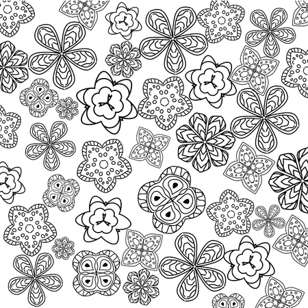 Relaxing Coloring Page With Flowers For Kids And Adult, Art Therapy ...