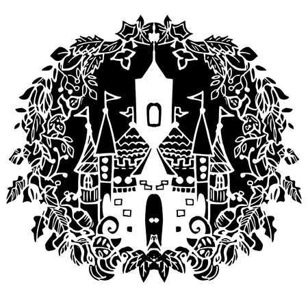 fairy castle: Fairy castle in hand drawn style black and white vector illustration