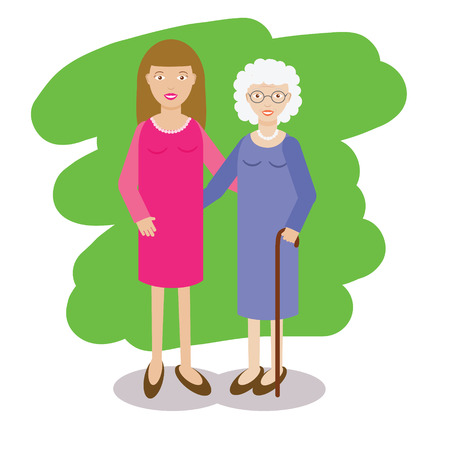 yong: Woman and gray-haired old lady vector illustration. Family theme. Yong woman with grandmother. Grandmother with cane and her granddaughter in flat style