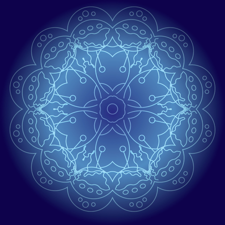 meditative: Abstract glowing mandala in blue colors vector illustration. Meditative background, design element for flyers, covers and etc