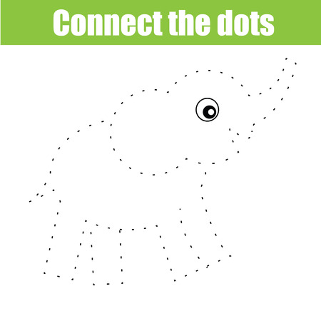 Connect the dots educational drawing children game. Dot to dot game for kids. Animal theme