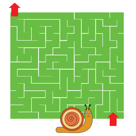 developmental: Maze children game: help the snail go through the labyrinth