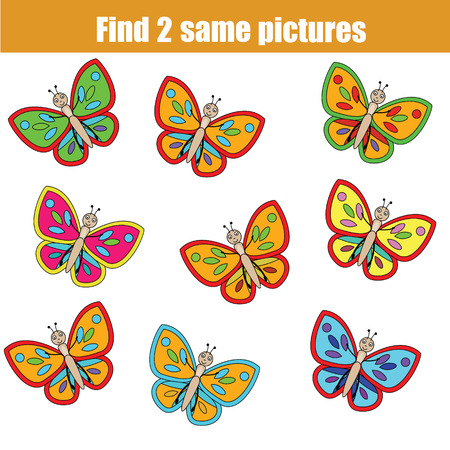 Find the same pictures children educational game. Find equal butterflies task for kids Vectores