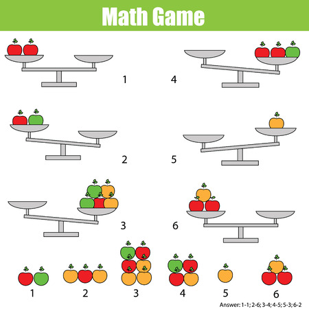Mathematics educational game for children. Balance the scale. Learning counting, mathematical equation, weights and algebra Stock Illustratie