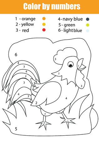 cartoon numbers: Coloring page with chicken. Color by numbers task. Educational game for kids, learning nature Illustration